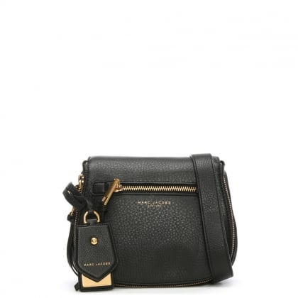 Recruit Black Leather Saddle Bag