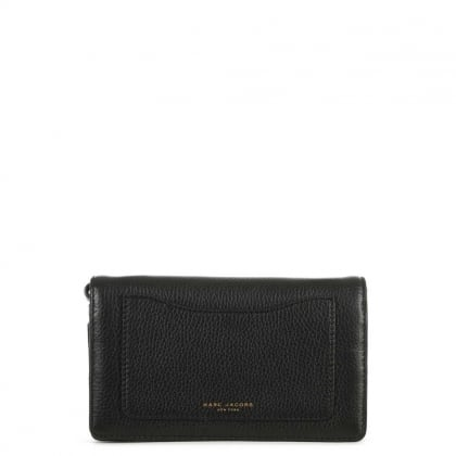 Recruit Black Leather Wallet With Strap