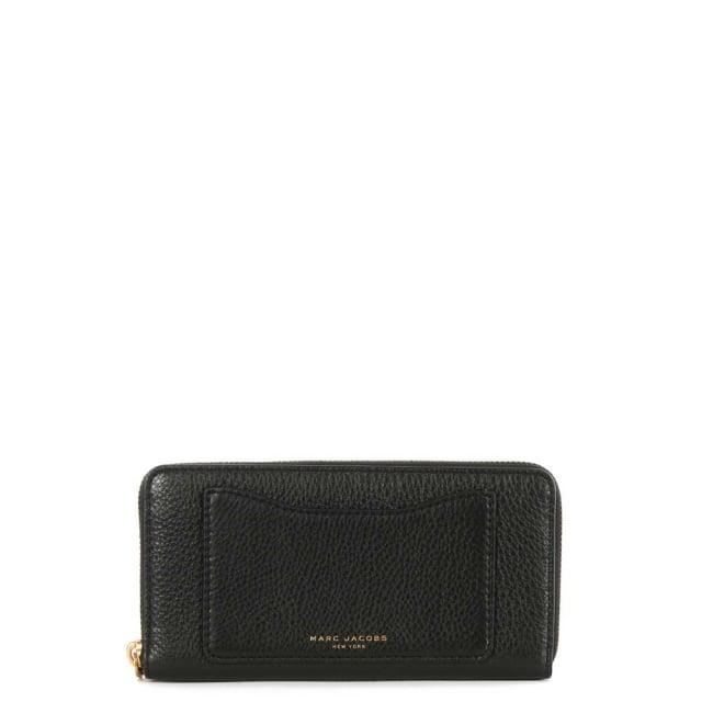 Recruit Continental Black Leather Zip Around Wallet