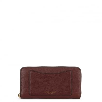 Recruit Continental Chianti Leather Zip Around Wallet