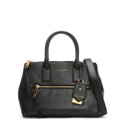 Recruit East West Black Leather Tote Bag