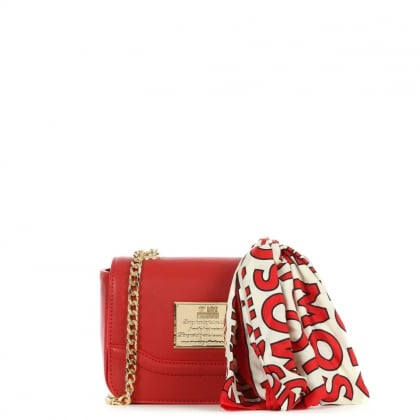 Red Chain Handle Scarf Cross-Body Bag