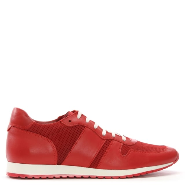 Red Leather Perforated Trainers