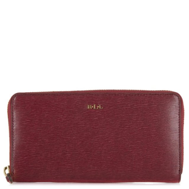Red Leather Tate Zip Around Wallet