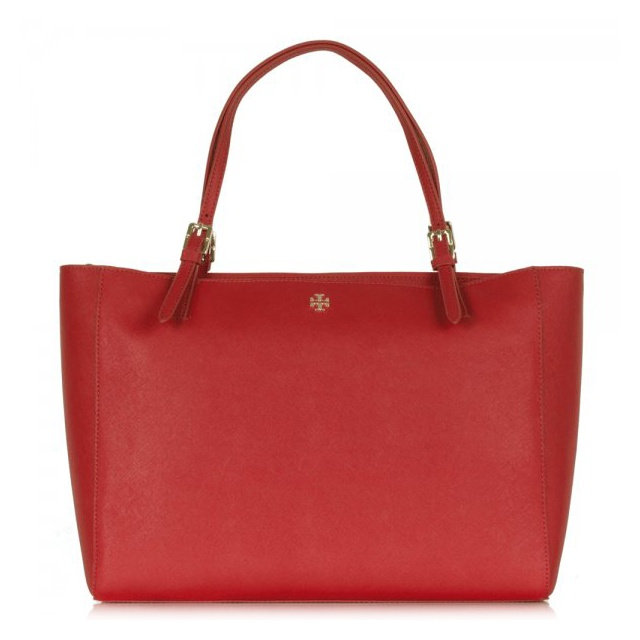 Red Leather York Buckle Women's Tote Bag