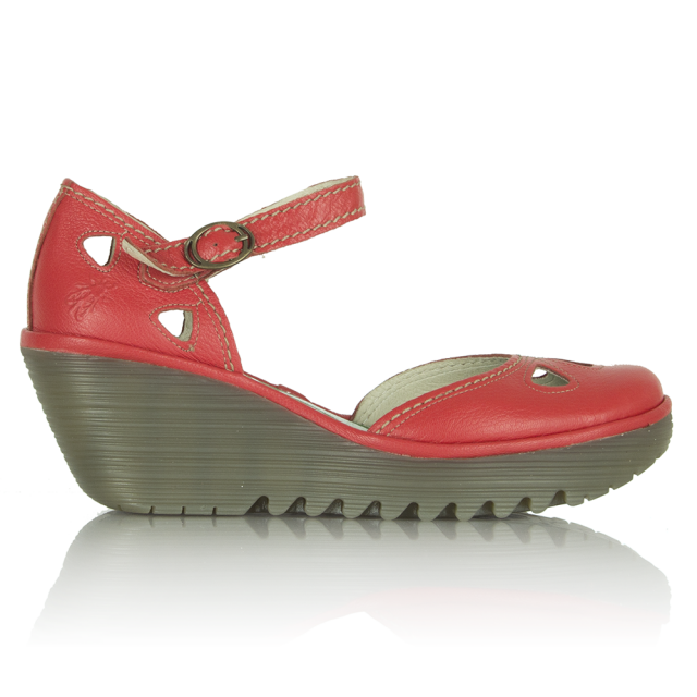 Red Leather Yuna Close Toe Shoe