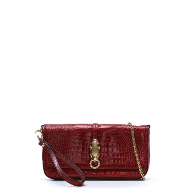 Red Reptile Leather Evening Bag