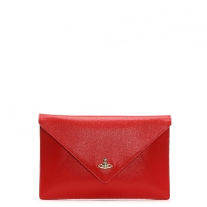 Red Saffiano Leather Envelope II Pouch