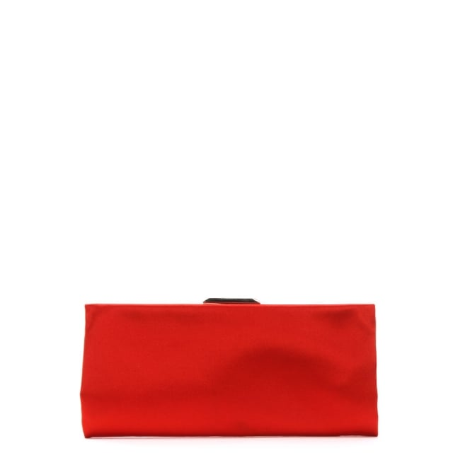 Red Satin Evening Clutch Bag