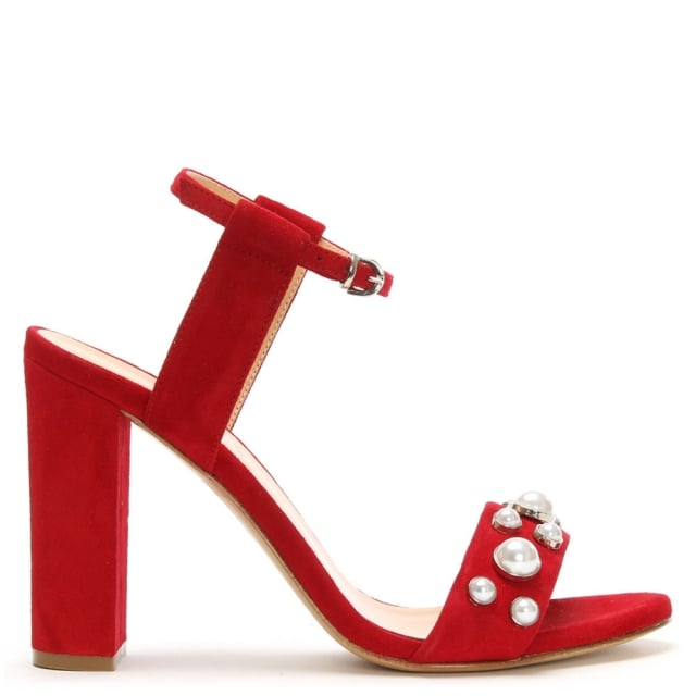 Red Suede Embellished Pearl Sandals