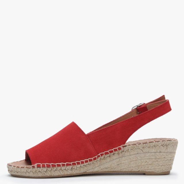 33ef64e0fb7 Red Suede Low Wedge Espadrille Sandals