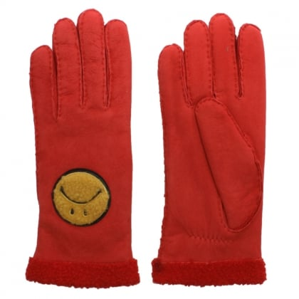 Red Suede Smiley Face Gloves