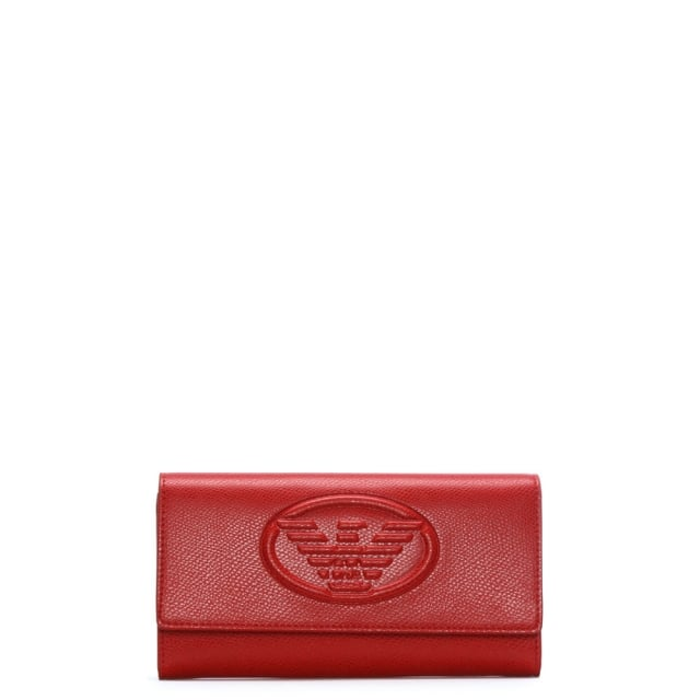 Red Textured Logo Continental Wallet