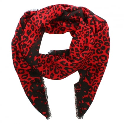 Red Wool Mix Leopard Print Stole