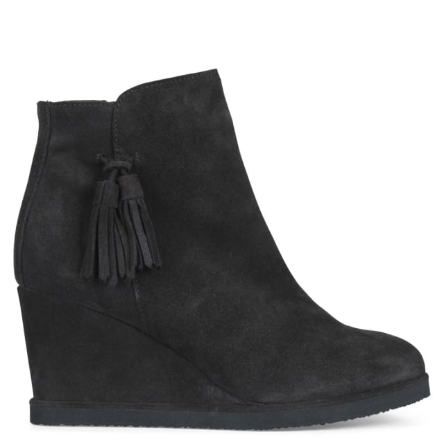 Redress Grey Suede Tassel Wedge Ankle Boots