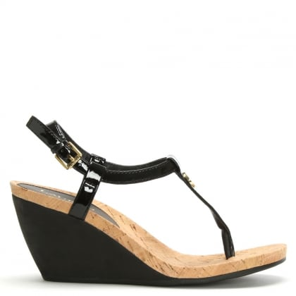 Reeta Black Patent Corked Wedge Sandals