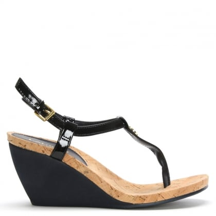 Reeta Navy Patent Corked Wedge Sandals