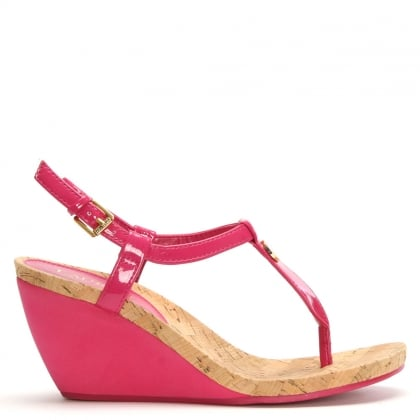 Reeta Pink Patent Corked Wedge Sandals