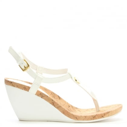 Reeta White Patent Corked Wedge Sandals