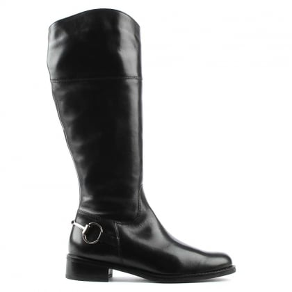 Reign Black Leather Metal Chain Riding Boot