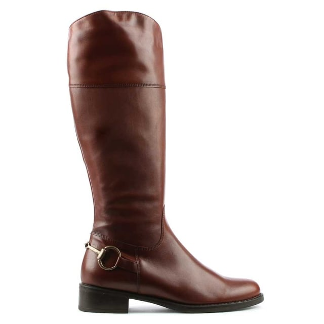 Reign Tan Leather Metal Chain Riding Boot