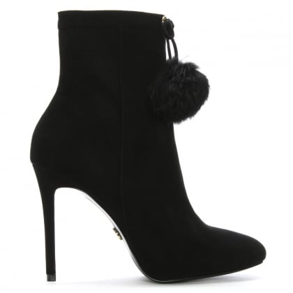 Remi Black Suede Pom Pom Fur Ankle Boots