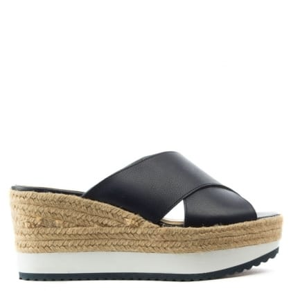 Lauren by Ralph Lauren Reno Navy Leather Raffia Flatform Sandal