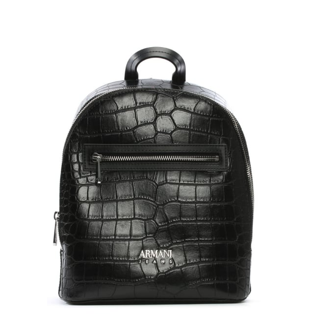 1d3fca3bd470 Armani Jeans Reptile Black Eco Leather Backpack