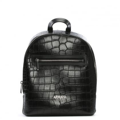 Reptile Black Eco Leather Backpack