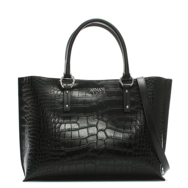 Reptile Black Eco Leather Top Zip Shopper Bag