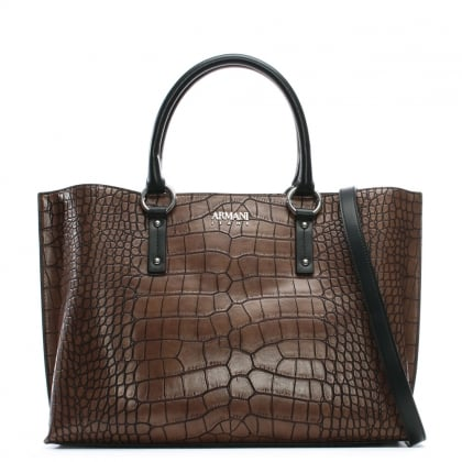 Reptile Brown Eco Leather Top Zip Shopper Bag