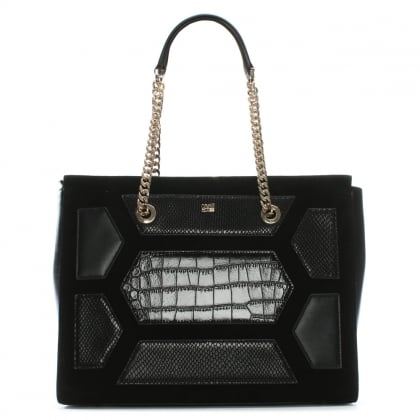 Reptilia Black Suede & Leather Patchwork Shopper