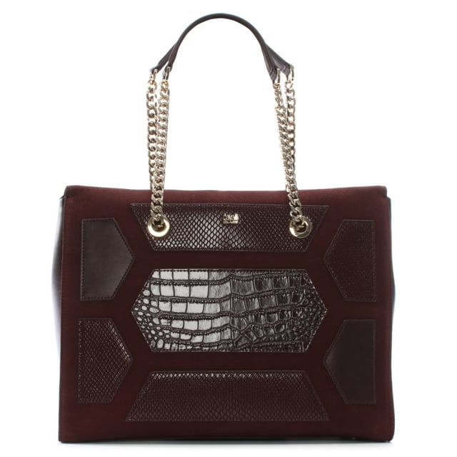 Reptilia Burgundy Suede & Leather Patchwork Shopper