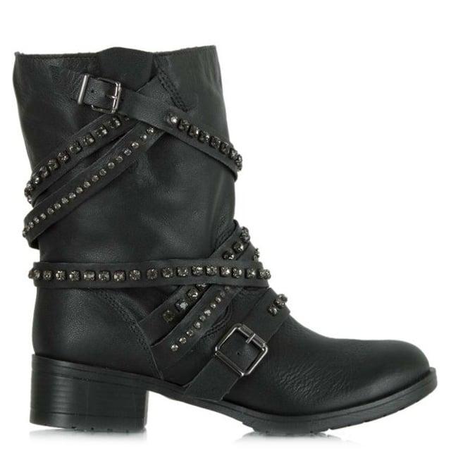 4a5b31dc77c Respect Black Leather Diamante Stone Biker Ankle Boot