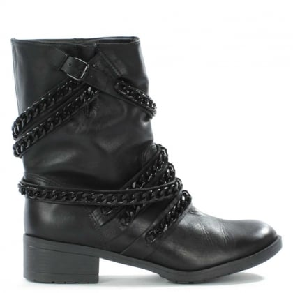 Respectful Black Leather Chain Biker Boot