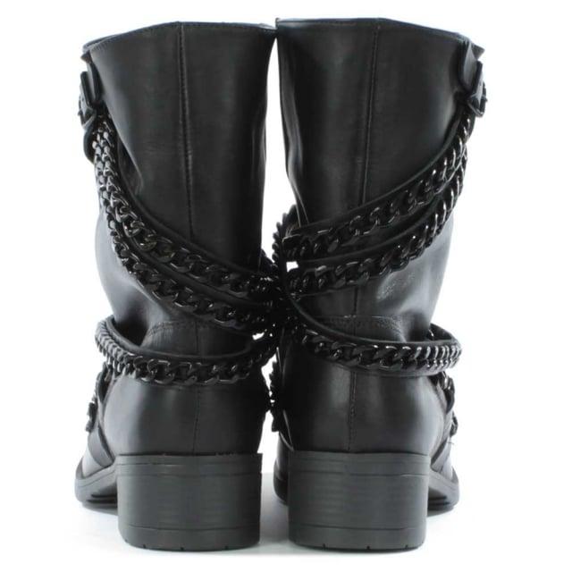 4efb6b4fc3d Respectful Black Leather Chain Biker Boot