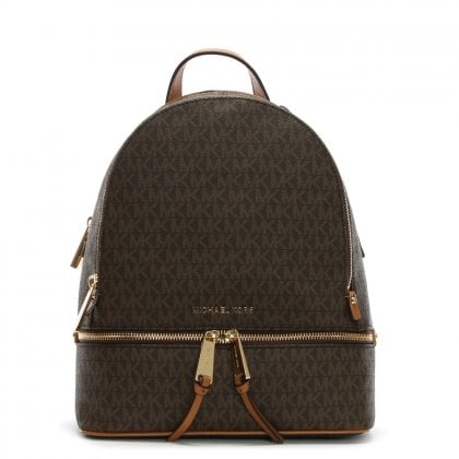 Rhea Brown Logo Zip Fastening Backpack