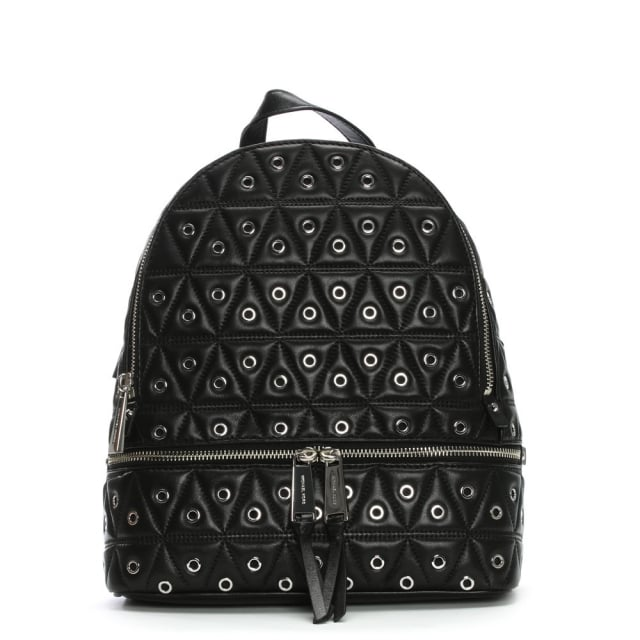 Rhea Medium Black Leather Quilted Grommet Backpack