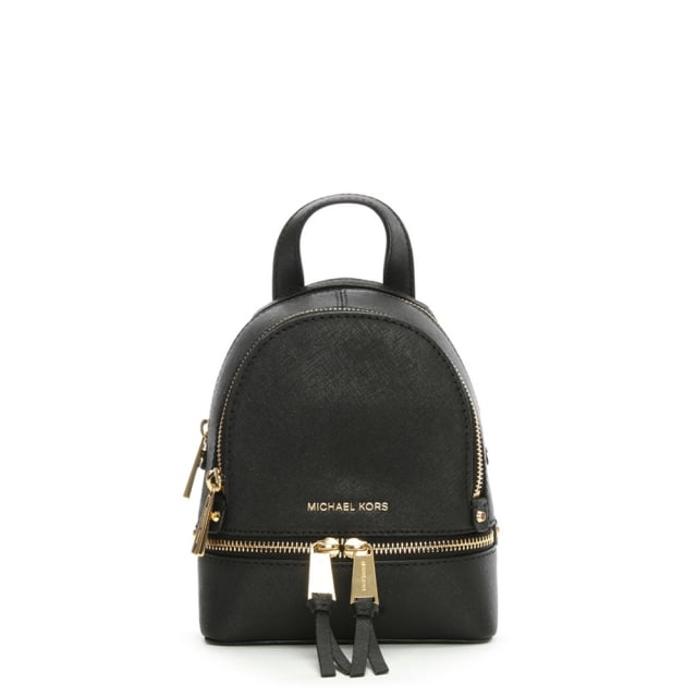 e495ae72add2 Michael Kors Rhea Mini Black Leather Double Zip Backpack