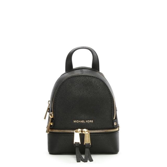 e495ae72add2 Michael Kors Rhea Mini Black Leather Double Zip Backpack