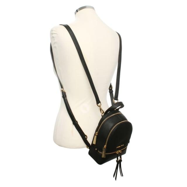 99c9b68b1b73 Michael Kors Rhea Mini Black Leather Double Zip Backpack