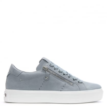 Ribbon Lace Up Silver Grey Leather Trainers