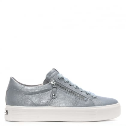 Ribbon Lace Up Silver Metallic Leather Trainers