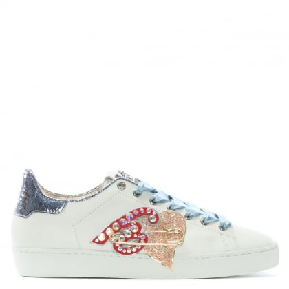 Ribbon White Leather Applique Sneakers