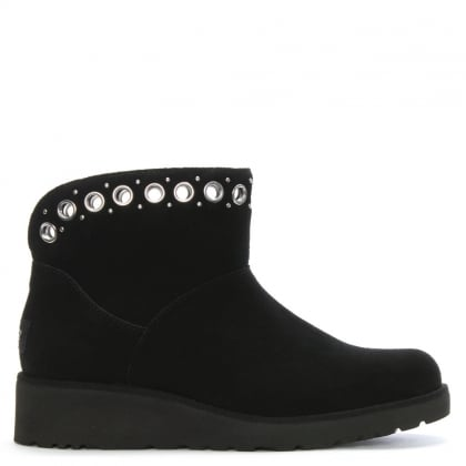 Riley Black Suede Grommet Mini Boots