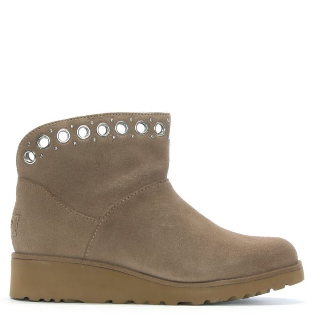 649124bb19b UGG Riley Fawn Suede Grommet Mini Boots