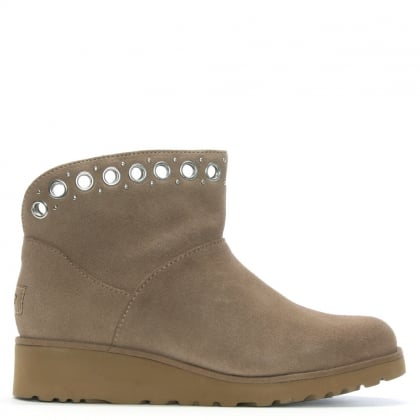 Riley Fawn Suede Grommet Mini Boots