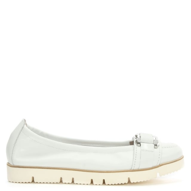 Riposte White Leather Pump