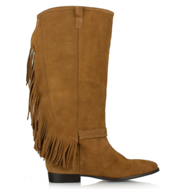 Riverdale Tan Suede Fringed Knee Boot