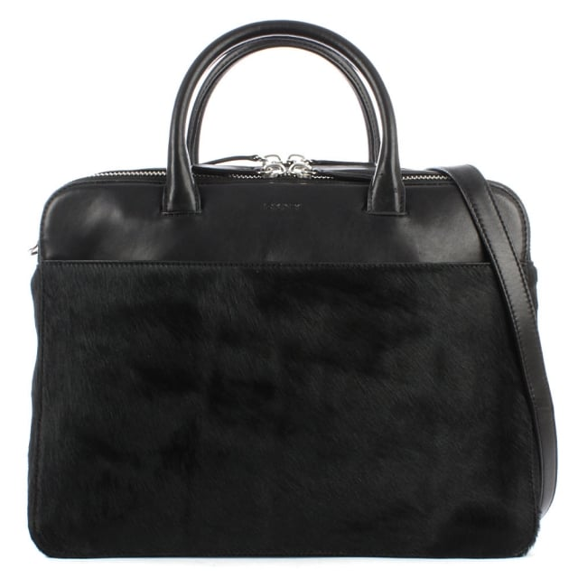 Riverside Black Calf Hair & Leather Briefcase